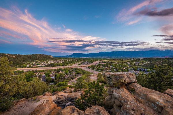 Photograph City of Colorado Springs Skyline at Dusk - Cheyenne Mountain & Pikes Peak