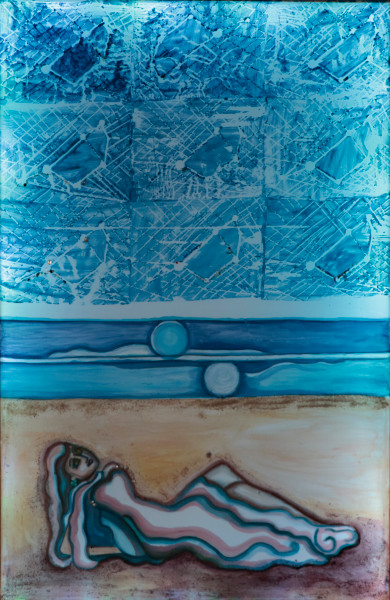 Shipwreck Moonlight Woman on the Beach Print