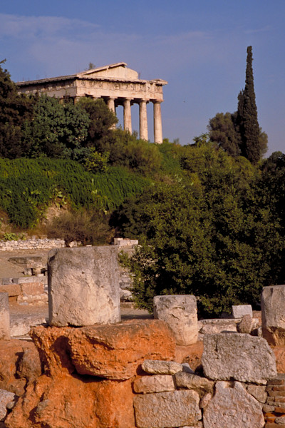 A temple in the ancient agora section of Athens.