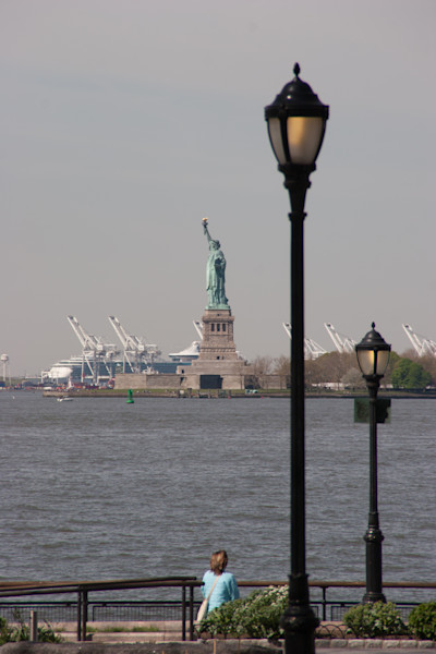Battery Park in lower Manhattan where thosands of people line up for ferries to the Statue of Liberty.