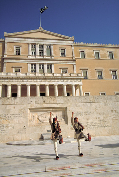 Honor guard at the capitol building in Athens, Greece.