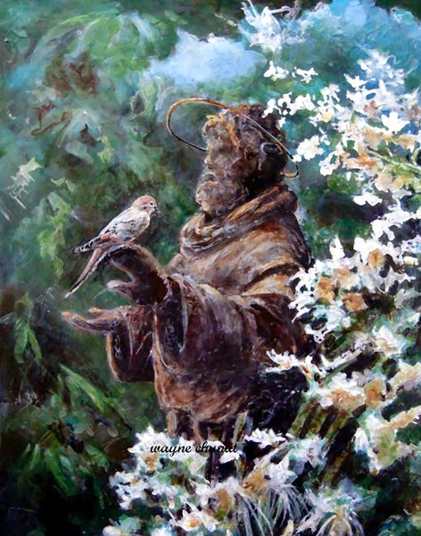 St. Francis is a acrylic figurative realism painting of St. Francis created by artist Wayne Chunat.