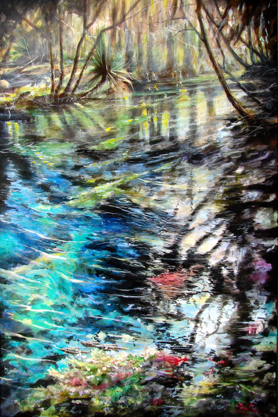 Lithia Spring is a fine art landscape acrylic painting of a spring of water in Florida, created by artist Wayne Chunat.