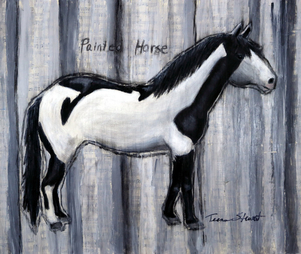Painted Horse, Black and White Painted Horse, Fine Art and Paintings for Sale by Teena Stewart of Serendipitini Studio