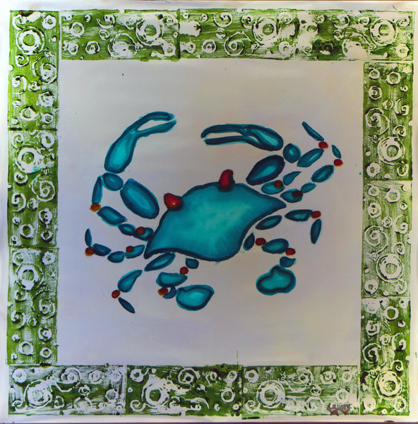 Blue Crab Beach Design Print