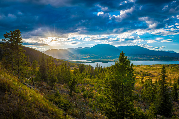 Landscape Photograph of Dillon Reservoir & Buffalo Mountain at Sunset