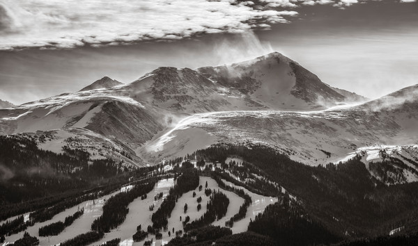 Black and White Photograph of Peak 10 Breckenridge Colorado Ski Resort