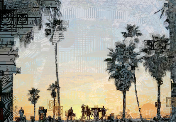 Palm Trees at Sunset, Venice Beach, Los Angeles, Los Angeles, California, Vector art by Peter McClard at Vectoraratlabs.com.com