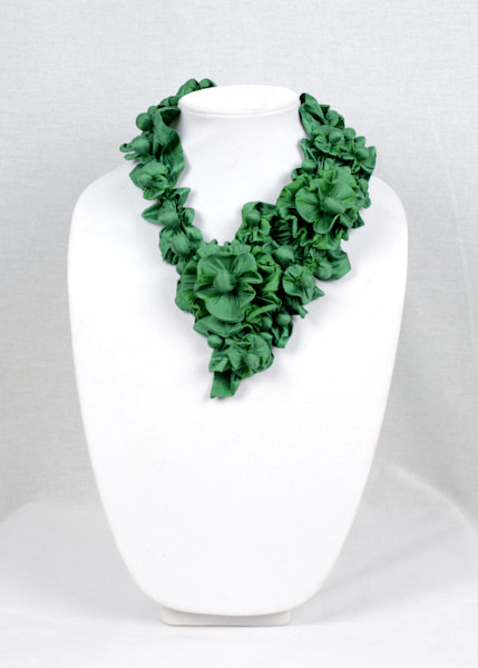 Dancer on Pointe in Green Silk Fabric Necklace