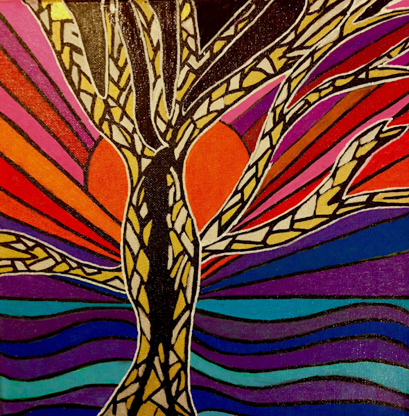 Divided abstract tree in a sunset by Christina Culverhouse at Intuitive Creations