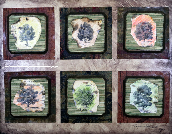 Trees, A mixed media collage on wood by Teena Stewart