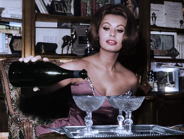 Sophia Loren Pours Champange