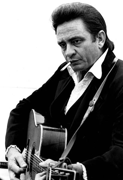 Johnny Cash smoking a cigarette