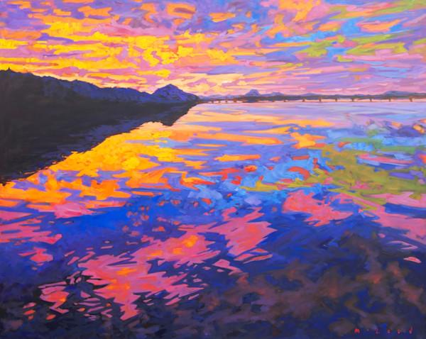 Big Dam Sunset landscape art print by artist Matt McLeod