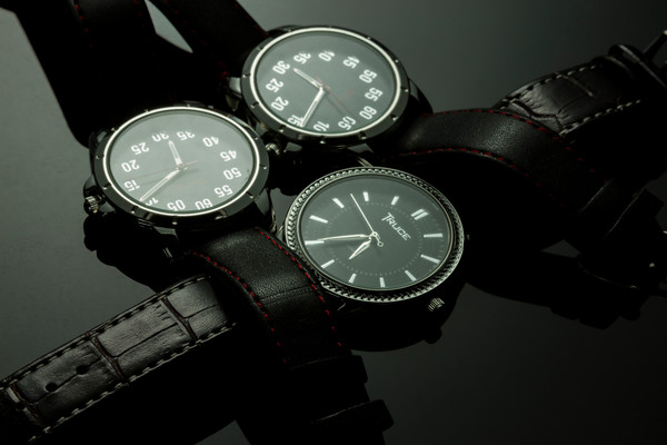 Fine Art Photograph of Three Watches on Black Plexi by Michael Pucciarelli