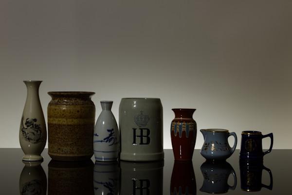 Fine Art Photograph of Vases and Mugs Reflections on Black Plexi Michael Pucciarelli