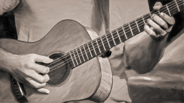 Guitar Musician Closeup Monochrome|Wall Decor fleblanc