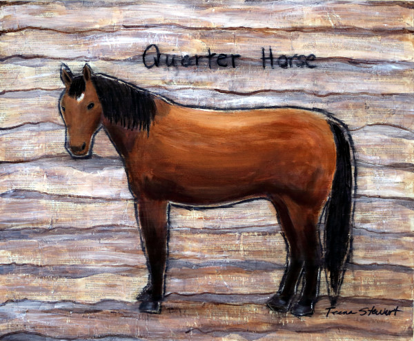 Quarter Horse, Bay Quarter Horse Painting, Fine Art and Paintings for Sale by Teena Stewart of Serendipitini Studio