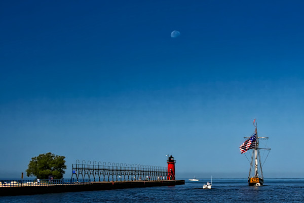 Moon Over South Haven s South Pier