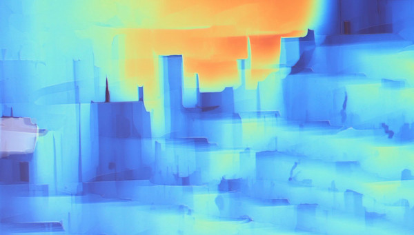Luminous landscape art is actually a digital photo of microscopic crystals.
