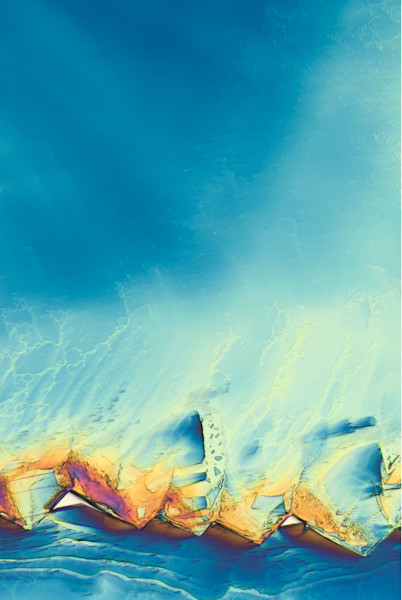 Lee Hendrickson's digital photography of crystals through a microscope give the impression of an abstracted seascape.