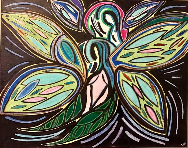 Abstract butterfly painting by Christina Culverhouse