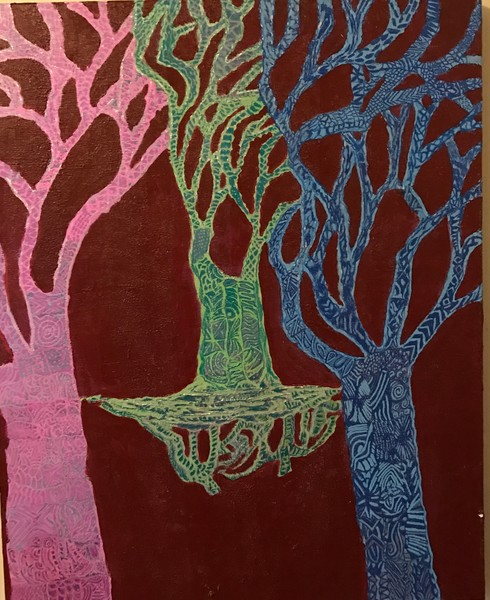 Dance of the trees contemporary landscape art by Christina Culverhouse at Intuitive Creations
