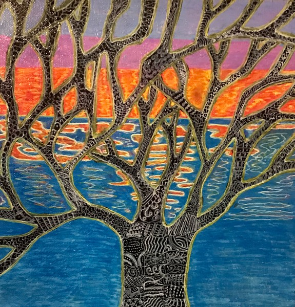 Sunrise Abstract tree with sunrise in the background by Christina Culverhouse