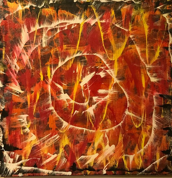 All Fired Up abstract expressionist painting of the sun by Christina Culverhouse at Intuitive Creations