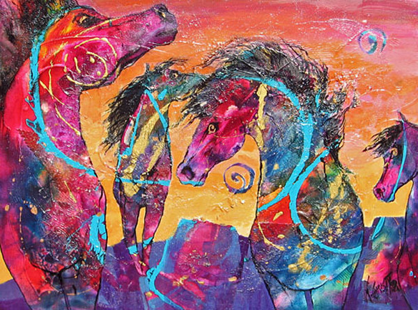 colorful, original abstract painting of horses, heavily textured on canvas, ready to hang