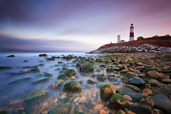 """Montauk Sunset"" Fine art beach photograph of the Montauk Lighthouse in Montauk, NY on Long Island."