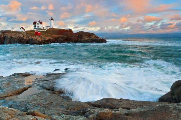"""Nubble Sunset"" - Nubble Lighthouse ocean art photograph"