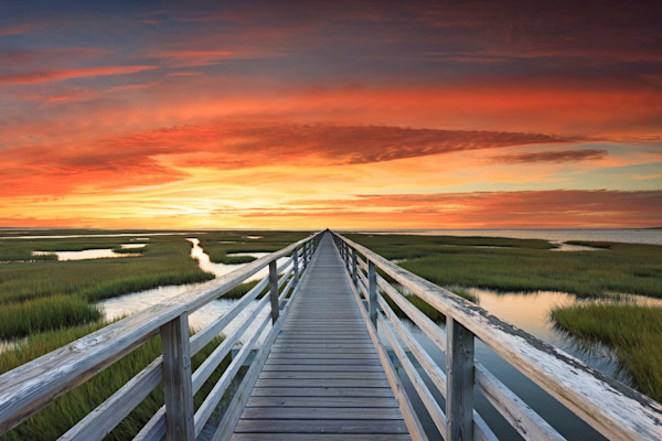"""Bass Hole Sunset"" Fine art, Cape Cod beach marsh boardwalk photograph taken at sunset at Grey's Beach in Yarmouth, Massachusetts."