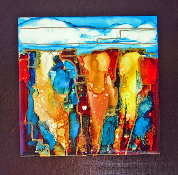 alcohol inks, hand-painted,  ceramic tile, abstract, landscape