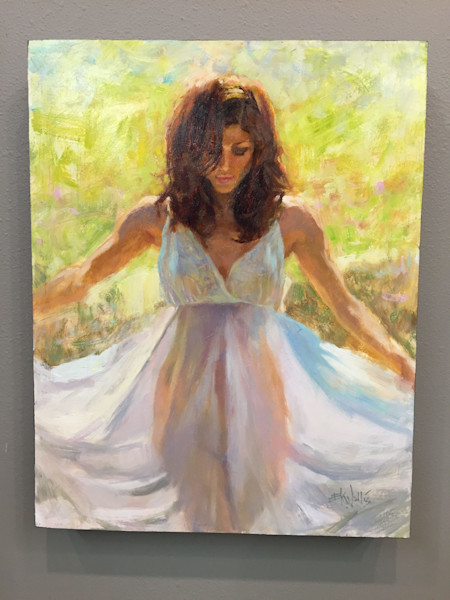 """Draped figure painting by Eric Wallis titled """"Summer Steps"""""""