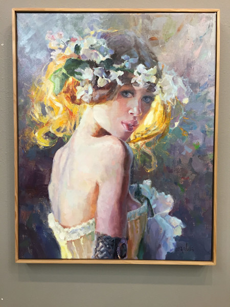 """Portrait in oil by Eric Wallis titled """"Bride's Maid"""""""