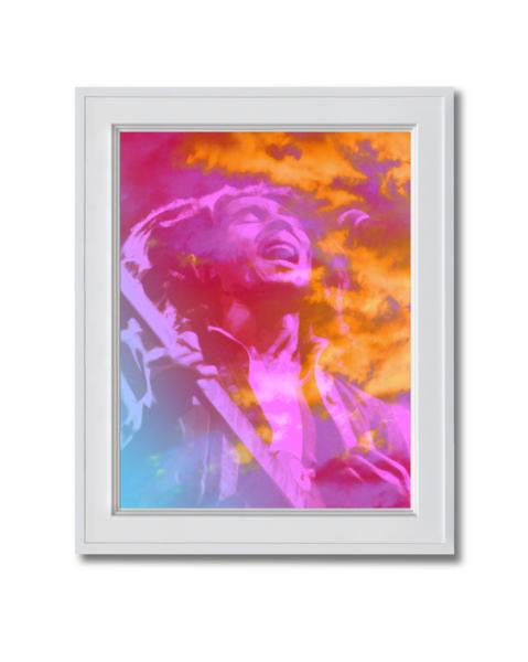 Fine art photograph of Bob Marley with purple haze