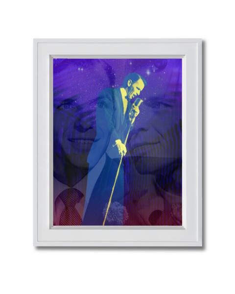 Fine art photograph Frank Sinatra singing stars triple portrait