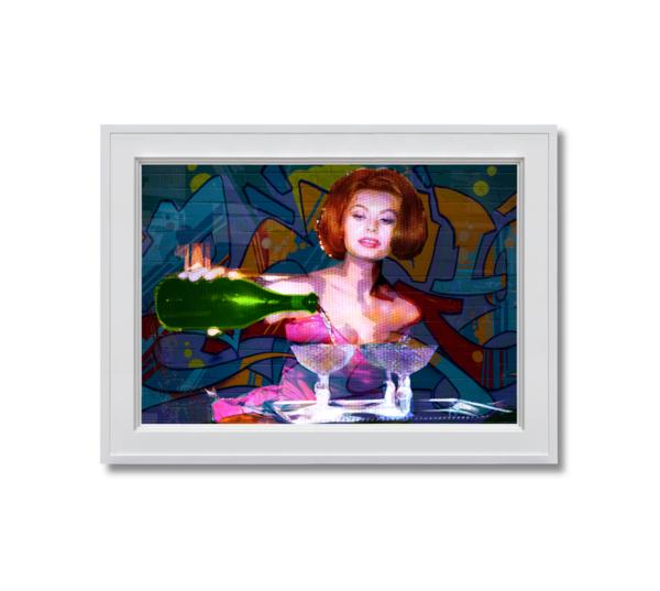 Fine art photograph sophia loren pouring champagne