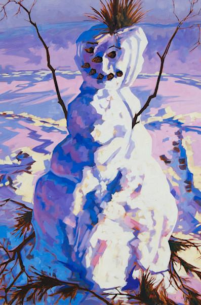 Fine art print from snow man painting by Matt McLeod. Buy December Friend Fine Art Print At Matt McLeod Fine Art Gallery