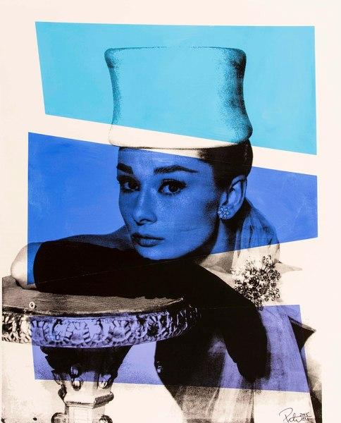 Fine art photograph a peter tunny photo. Audrey Hepburn Hat portrait two blue