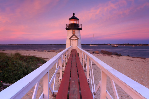 """Brant Point Sunset II"" - Nantucket lighthouse seascape photography"