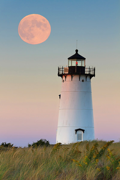 """Moon over Martha's Vineyard"" - Edgartown Harbor Lighthouse photograph"