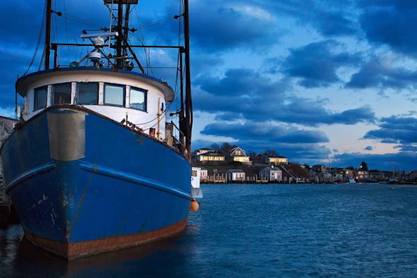 """Menemsha Dusk"" Martha's Vineyard fishing boat harbor photograph"