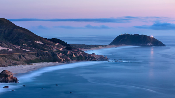 """Point Sur Dusk"" Big Sur California lighthouse seascape art"