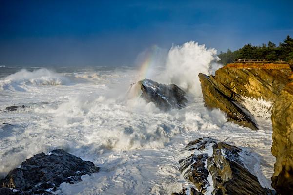 Waves and rainbow with crashing waves, Oregon coast