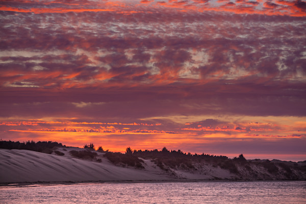 Siuslaw River and Sand Dunes at Sunset - 2378