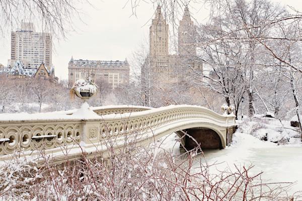 """Bow Bridge Ice Storm"" Central Park NYC Winter Snow Photograph"