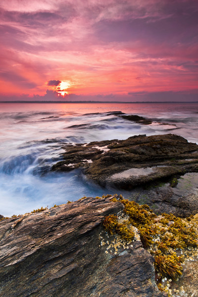 """Swirling"" Rhode Island coast vertcal sunset seascape photography"