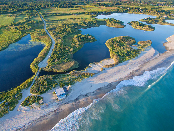 """Over Moonstone"" Rhode Island aerial beach photograph"